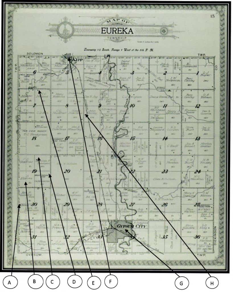 Map of Eureka Township of Saline County, Kansas in 1920