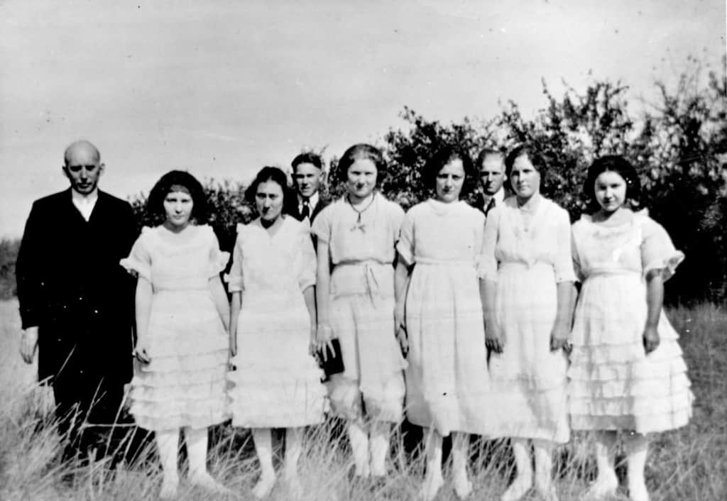 The confirmation class of Bernice Irene Lois Lindquist from St. Paul's Lutheran Church Back Row, L-R:  Minister, Harold Nelson and Robert Melander Front Row, L-R:  Dorothy Peterson, Elsie Bruckner, Eleanor Nelson, Mary Hanson, Bernice Lindquist and Ruth Peterson