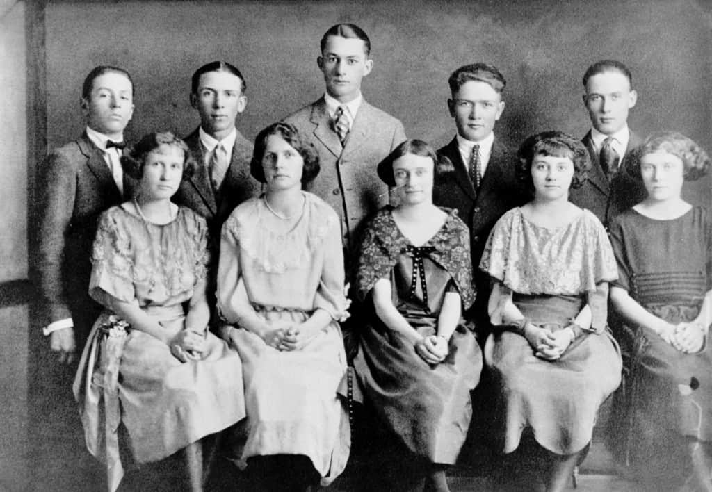 Kipp High School Graduation Class of 1923 Bernice Lindquist is the second girl from the left in the front row.  Maggie Armbruster was the mother of Elaine (Swanson) Waddle Back Row, L-R:  Raymond Shier, Leo Cusick, Joe Selby, Howard Stephen and Russell Hilts Front Row, L-R:  Cecile Weatherby, Bernice Lindquist, Buelah Weller, Maggie Armbruster and Marguerite Terry.