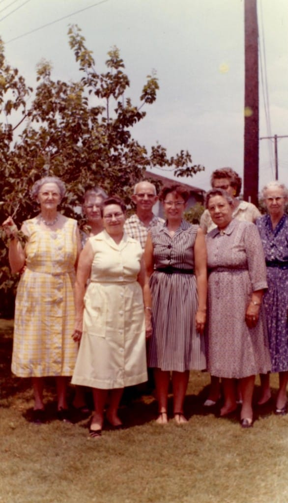 Some family in Sweden (Below is the label he had on the picture)  Mrs. Nelson in center, Mrs. Cooler in white dress, Mrs. Kelley in yellow dress, Mr. and Mrs. Lee Nelson, Mrs. Oakes didn't get on partly, Mrs. Swanson next to me, Mr. Swanson didn't get on sorry. Taken 8-8-1963 in backyard at parsonage.